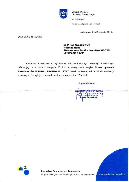 Rejestracja Stowarzyszenia