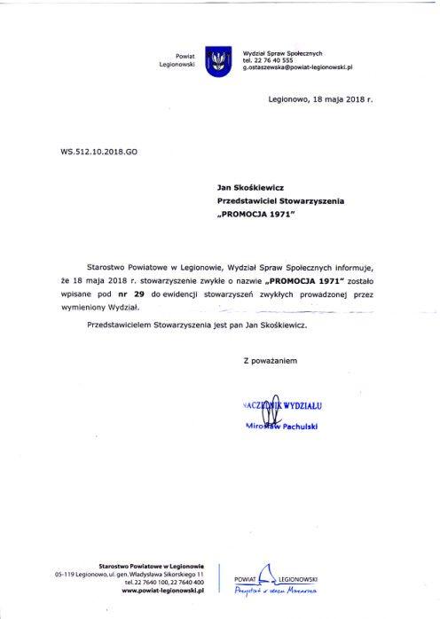 Rejestracja Stowarzyszenia w 2018 r.